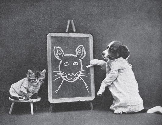 Винтажный котенок портрет фотоколлаж
