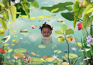 Рууд Ван Эмпл фотоколлаж девушка в пруду