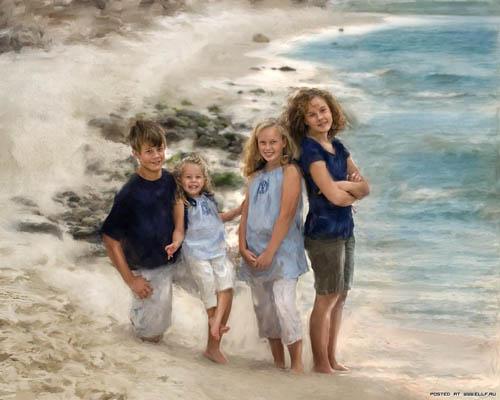 Ричард Рэмси фотоколлаж дети на пляже