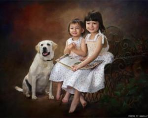 Ричард Рэмси фотоколлаж дети с собакой