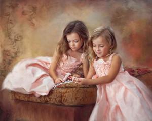 Ричард Рэмси фотоколлаж девочки в розовых платьях