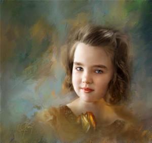 Ричард Рэмси фотоколлаж девочка в коричневом платье