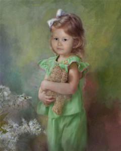 Ричард Рэмси фотоколлаж девочка в зеленом платье