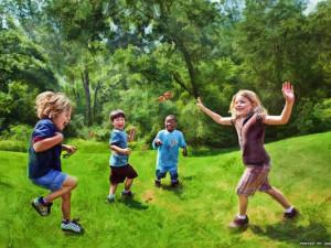 Ричард Рэмси фотоколлаж дети в парке