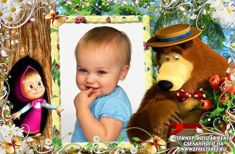 Детский фотоколлаж маша и медведь