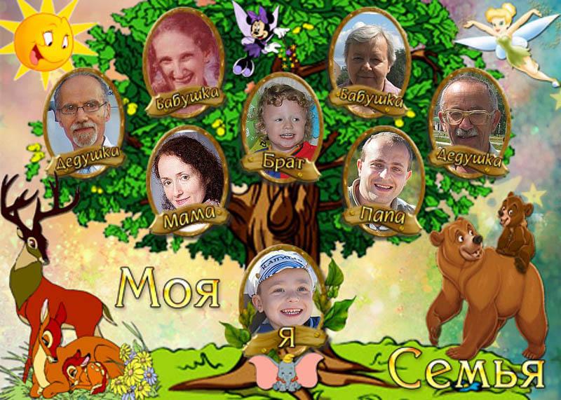 Детский фотоколлаж дерево родственников