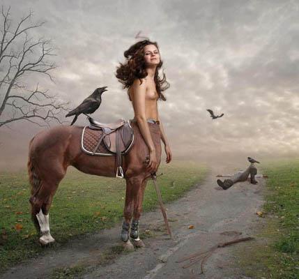 Фотоколлаж Юлия Напольская девушка кентавр с птицей