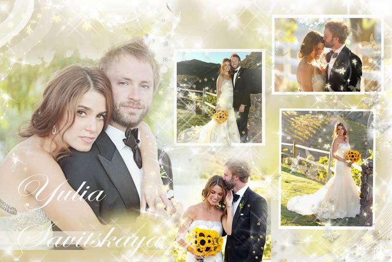 Свадебный фотоколлаж в светлых тонах
