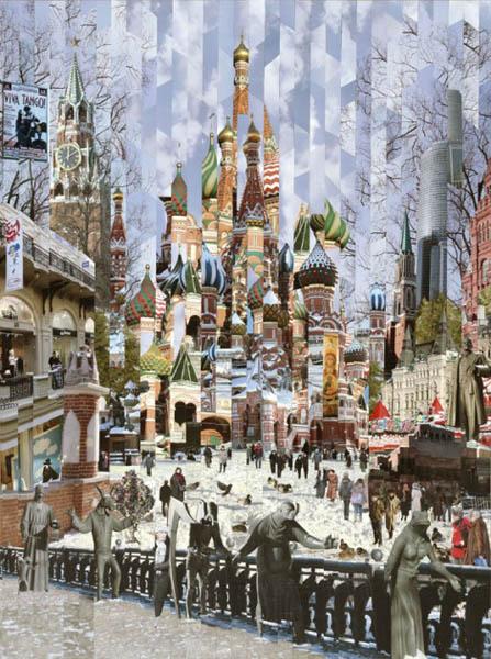 Фотоколлажи городов Москва фотохудожник