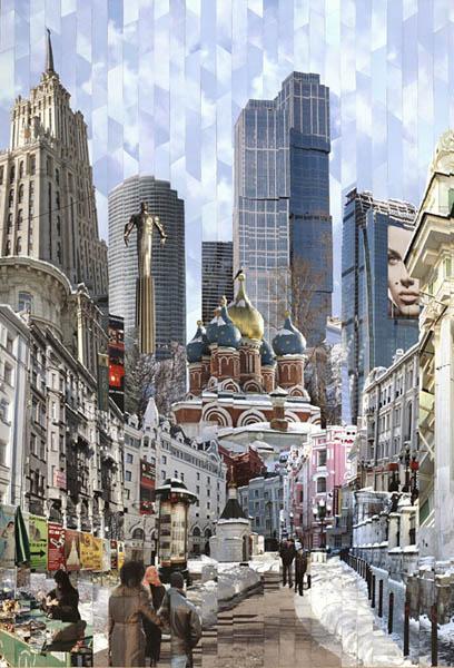 Фотоколлажи городов Москва Серж Менджинский