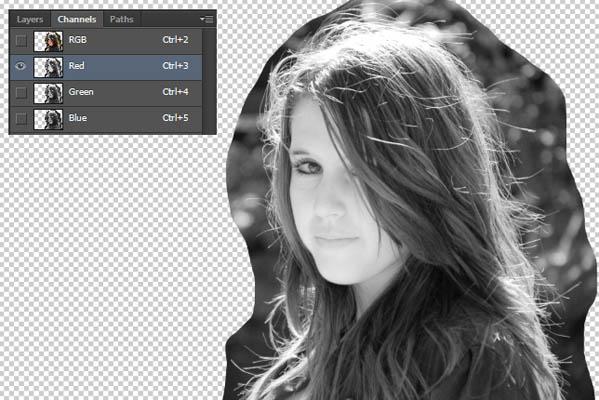Вырезаем волосы красный канал photoshop